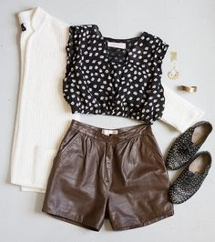 OUTFIT! Redesigned gift print top and leather shorts by Community Service, vintage cardigan, studded flats, with earrings and cuff by Laurel Hill.