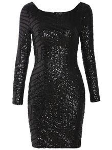 Short black sequin dress with low-cut back & long sleeves. | Party ...