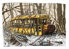 old bus small Old School Bus, School Buses, Artist At Work, Explore, House Styles, Instagram, Drawing, Design, Archive
