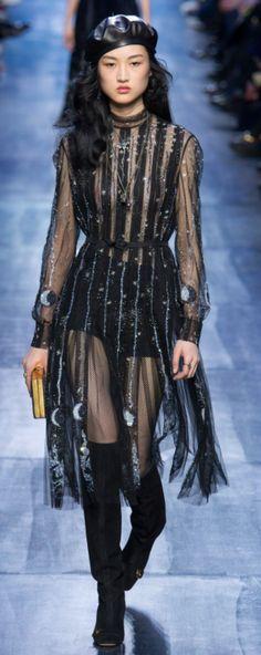 Dior Outono Inverno 2017/18 Paris Fashion Week - Transparência e Bordados