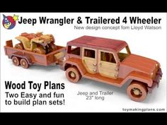 Wood Toy Plans - Jeep Wrangler N Trailered 4 Wheeler - YouTube