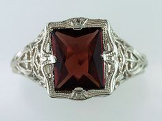 Vintage Antique 2ct Garnet 14K White Gold Art Deco Engagement / Cocktail Ring #Cocktail