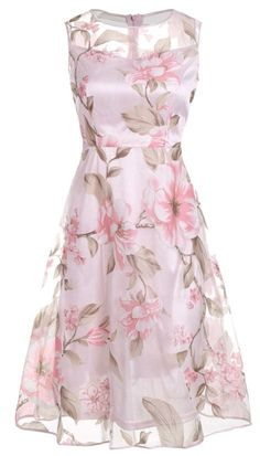 $17.73 Sleeveless Floral Printed Midi Dress - Pink #mididress