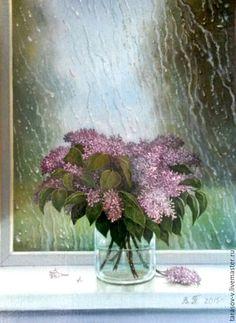 Купить Майский дождь. Букет сирени. - бледно-розовый, зеленый, сирень, дождь за окном