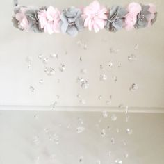 Crystal Baby Mobile Pink Baby Mobile Flower Baby by TheMobileMaven
