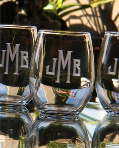 Personalized Stemless Wine Glass Tumblers Engraved with Monogram, Set of 4 -  Birthday. New Home. Engagement