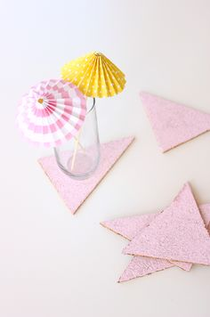Easy geometric cork coasters // Delia Creates