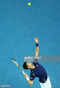 Novak Djokovic of Serbia serves in his third round match against Andreas Seppi of Italy during day five of the 2016 Australian Open at Melbourne Park on January 22, 2016 in Melbourne, Australia.