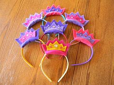 Bacon In My Pocket: Princess party! How to make these felt tiaras. Princess Crafts, Princess Party Favors, Disney Princess Party, Princess Birthday, Girl Birthday, Princess Wands, Princess Tiara, Princess Room, Sofia Party