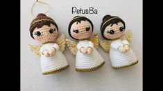 How to knit an angel for your Christmas tree or christening amigurumis by Petus . : How to knit an angel for your Christmas tree or christening amigurumis by Petus … Christmas Crochet Patterns, Easy Crochet Patterns, Crochet Patterns Amigurumi, Amigurumi Doll, Crochet Dolls, Love Crochet, Crochet Baby, Cupcake Dolls, Crochet Angels