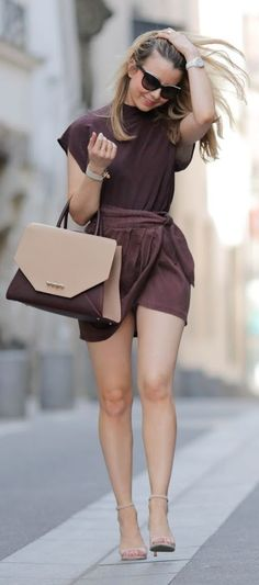 Pardon My Obsession Burgundy Stand Collar Top Burgundy Wrap Skirt Nude And Burgundy Givenchy Bag