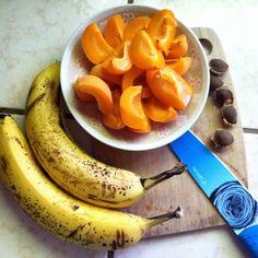 Raw Vegan Breakfast of California grown Apricots and Bananas.