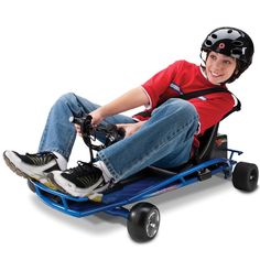 The Corner Drifting Go Cart - Hammacher Schlemmer - This is the electric go-cart that enables a rider to execute drifting slides into corners, impromptu straightaway fish tails, and nimble 180º hairpin turns, with a top speed of 12mph.