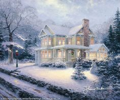 Fan Art of Thomas Kinkade Winter for fans of Winter. Beautiful wintery paintings done by Thomas Kinkade. Christmas Scenes, Christmas Art, Winter Christmas, Christmas Paintings, Christmas Houses, Beautiful Christmas, Christmas Videos, Childrens Christmas, Christmas Graphics