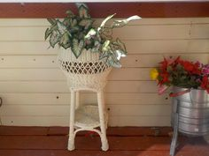 Standing Good Size Pretty White Wicker by Daysgonebytreasures