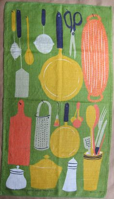"""the mysterious CHRIS BASH. i think these are eastern european knock-offs - they are all Vera designs, but there are several """"Chris Bash"""" towels out there.  Chris Bash Utensils Vtg Tea Dish Kitchen Towel MCM by gramily, $31.00"""