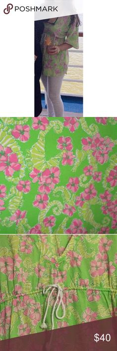 Lilly Pulitzer 'Penelope' Tunic EUC Size Medium Getting ready for that Labor Day weekend beach trip? This top Lilly Pulitzer top in 'Limeade Floater' print is on the must-pack list! Comfy, stylish and versatile! Dress it up with some wedges and sparkly accessories or dress down with shorts and flip flops! Drawstring detail makes this top flattering on anyone! More photos to come! Lilly Pulitzer Tops Tunics