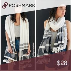"""Urban Outfitters Amalfi Coast Lightweight Scarf Urban Outfitters Amalfi Coast Lightweight Blanket Scarf """"A staple gets the bohemian styling treatment with this luxe + lightweight blanket scarf made in a gauzy cotton with a textured pattern weave at ends + fringe tassel accents to finish.Content + Care- Cotton- Hand wash- ImportedSize- Length: 82""""- Width: 27"""", Black & White Brand New With Tag Urban Outfitters Accessories"""