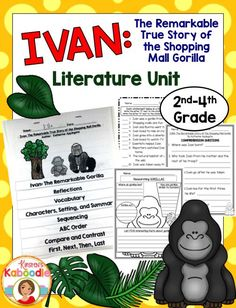 Ivan:  The Remarkable True Story of the Shopping Mall Gorilla literature unit is easy to use and fun for students.  It contains a flip book and many additional fun activities that align with the common core to save you planning and teaching time.  Check out this heartbreaking, yet touching narrative nonfiction picture book and share it with your students!
