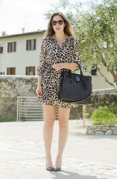 Irene's closet leopard dress & Michael Kors bag