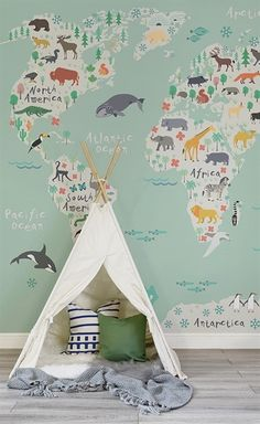Venture around the globe with this beautiful map mural. An illustrative map decorated with charming animals in their native continents is a lovely way to introduce the world to your little one. Set against a wonderfully refreshing mint green, it's a versa Playroom Design, Playroom Decor, Baby Room Decor, Nursery Decor, Baby Playroom, Map Nursery, Nursery Room, Travel Theme Nursery, Nursery Twins
