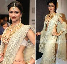 Deepika in beautiful white saree and jewellery
