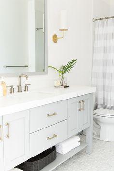 See the second reveal of our Parade Home! Vanity color via Studio McGee Bathroom Inspo, Bathroom Inspiration, Modern Bathroom, Small Bathroom, Master Bathroom, Bathroom Storage, Bathroom Ideas, Bathroom Designs, Towel Storage