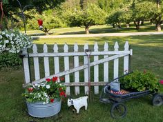 Picket fence , wash tub, old wagon...and a goat..perfect!!