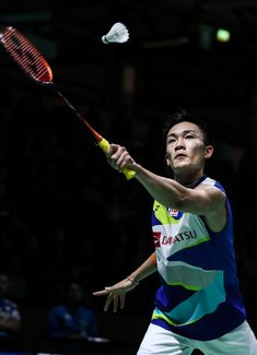 MULHEIM, GERMANY - FEBRUARY 28:  Kento Momota of Japan competes in the Men's Singles second round match against Brice Leverdez of France during day three of the Yonex German Open on February 28, 2019 in Mulheim, Germany.  (Photo by Shi Tang/Getty Images)