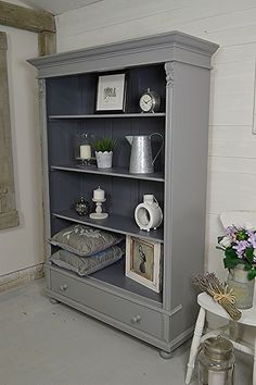 Why not add some unique storage in your home, with this rustic bookcase from Holland. Painted in Farrow & Ball Plummett with Valspar Carriage Wheel inside and lightly distressed. http://www.thetreasuretrove.co.uk/cabinets-and-storage/rustic-dutch-shabby-chic-bookcase: