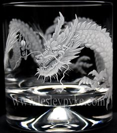 Japanese dragon engraved crystal whisky glass LESLEY PYKE LTD GLASS ENGRAVING