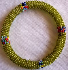 Maasai African Beaded Bangles- Bracelet 2 to 3 Inches Diameter Different  Shades of Maasai Beads-Green Shinny Light