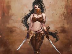 Like her veil, most of the rest impractical - - Mysterious Warrior Woman - Swords are sharpened and ready for battle