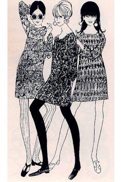 Fashion Illustration Speed Painting with Ink - Drawing On Demand Sixties Fashion, Mod Fashion, Fashion Art, Vintage Fashion, Fashion Design, Fashion Tips, Fashion Shorts, Classy Fashion, French Fashion