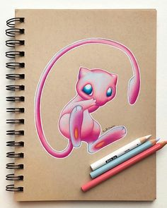 PsBattle: Drawing of Mew! Cute Animal Drawings, Pencil Art Drawings, Cool Art Drawings, Colorful Drawings, Disney Drawings, Mew Pokemon, Mew And Mewtwo, Pokemon Sketch, Pokemon Tattoo