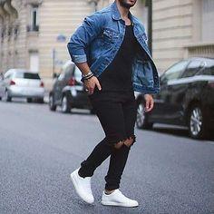 Acessórios Masculinos, Colar Masculino, Colares Masculinos. Macho Moda - Blog de Moda Masculina: Acessórios Masculinos: Sugestões de Combos para 10 Looks Diferentes, Pulseiras Masculinas, Pulseira Masculina. Jaqueta Jeans, All Black, Sneaker Branco, Calça Rasgada.