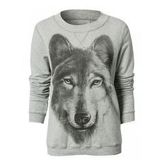 Grey Long Sleeve Wolf Print Sweatshirt (180 NOK) ❤ liked on Polyvore featuring tops, hoodies, sweatshirts, shirts, sweaters, sweatshirt, pattern shirts, grey sweat shirt, sweatshirts hoodies and cotton sweatshirt