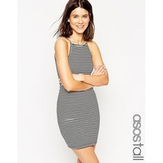 ASOS TALL 90's High Neck Mini Body-Conscious Dress in Stripe (£13) ❤ liked on Polyvore featuring dresses, stripe, white mini dress, white striped dress, asos dresses, bodycon mini dress and white dress