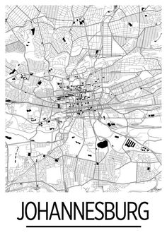 Our Johannesburg map poster lay out the amazing geography and street patterns of the city.  The Johannesburg map is printed in high saturation ink on