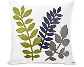 Woodland decorative pillow cover - Modern apple green, navy blue and grey tree leaves applique on white fabric - 16x16 pillow cover