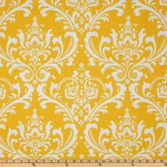 FAT QUARTER Yellow damask fabric home decor by FabricSecret, $3.50