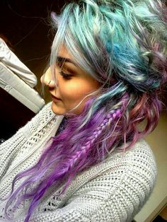 Purple blue rainbow hair. If only I could away with this at work lol.