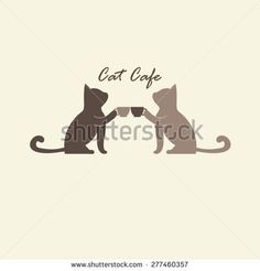 Coffee cup with couple cat logo vector.
