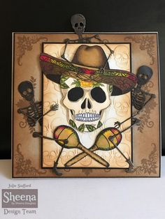 Project created with Sheena Douglass Day of the Dead stamps and dies from #crafterscompanion