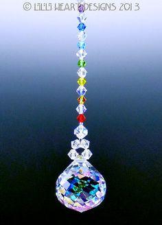 m/w Swarovski Aurora Mozart w/ Chakra Colors SunCatcher Lilli Heart Designs Crystal Mobile, Crystal Wind Chimes, Chakra Colors, Maker, Beaded Ornaments, Beads And Wire, Bead Crafts, Suncatchers, Wire Jewelry