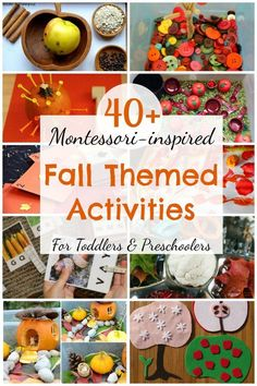 Are you looking for fall activities for your toddler or preschooler? Here is a list of more than 40 Montessori inspired fall-themed activities for young childre Montessori Education, Montessori Toddler, Toddler Play, Montessori Activities, Toddler Learning, Toddler Preschool, Early Learning, Toddler Crafts, Preschool Activities