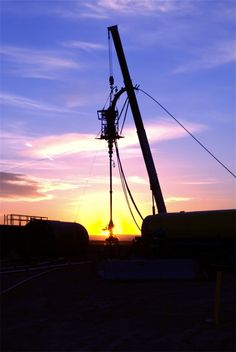 Coil heads downhole as the sun rises to usher in yet another day in the field. Who said the oil field can't be a beautiful place. Oilfield Trash, Oil Rig, Oil And Gas, Rigs, Fields, Sunrise, Beautiful Places, The Unit, Oil Field