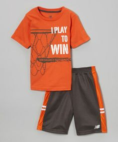 Love this Charcoal & Orange Tee & Shorts - Infant & Boys on #zulily! #zulilyfinds