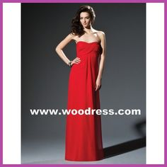 a Line strapless Long chiffon red bridesmaid dresses Style 2804