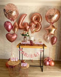 40th Birthday Balloons, Adult Birthday Party, Birthday Party Themes, Birthday Wishes, Birthday Cake For Women Simple, Simple Birthday Decorations, Birthday Girl Pictures, Backdrops For Parties, Rose Gold